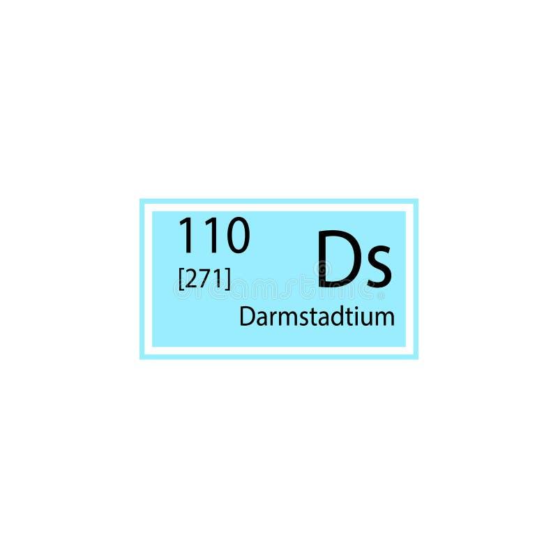 Periodiek darmstadtiumpictogram van het lijstelement Element van chemisch tekenpictogram Grafisch het ontwerppictogram van de pre royalty-vrije illustratie