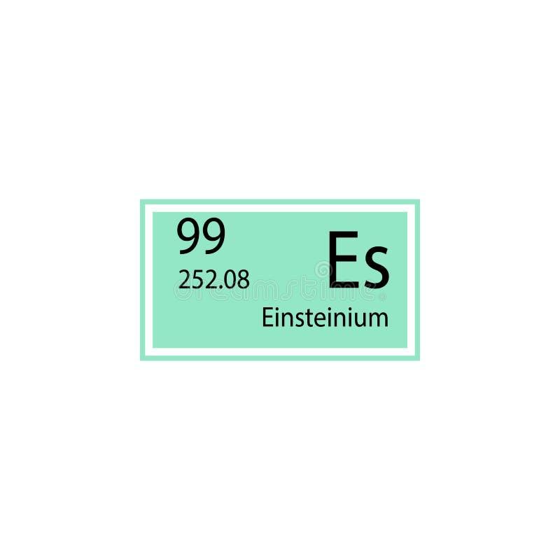 Periodiek einsteinium van het lijstelement pictogram Element van chemisch tekenpictogram Grafisch het ontwerppictogram van de pre royalty-vrije illustratie
