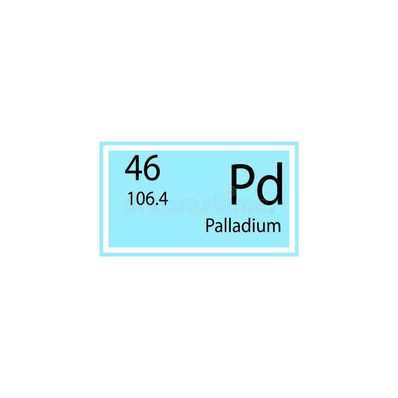 Periodiek het palladiumpictogram van het lijstelement Element van chemisch tekenpictogram Grafisch het ontwerppictogram van de pr stock illustratie