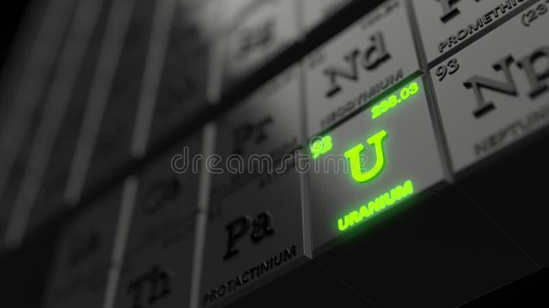 Periodiek lijstconcept met zwarte kubussen het uraniumelement gloeit 3D Illustratie stock illustratie