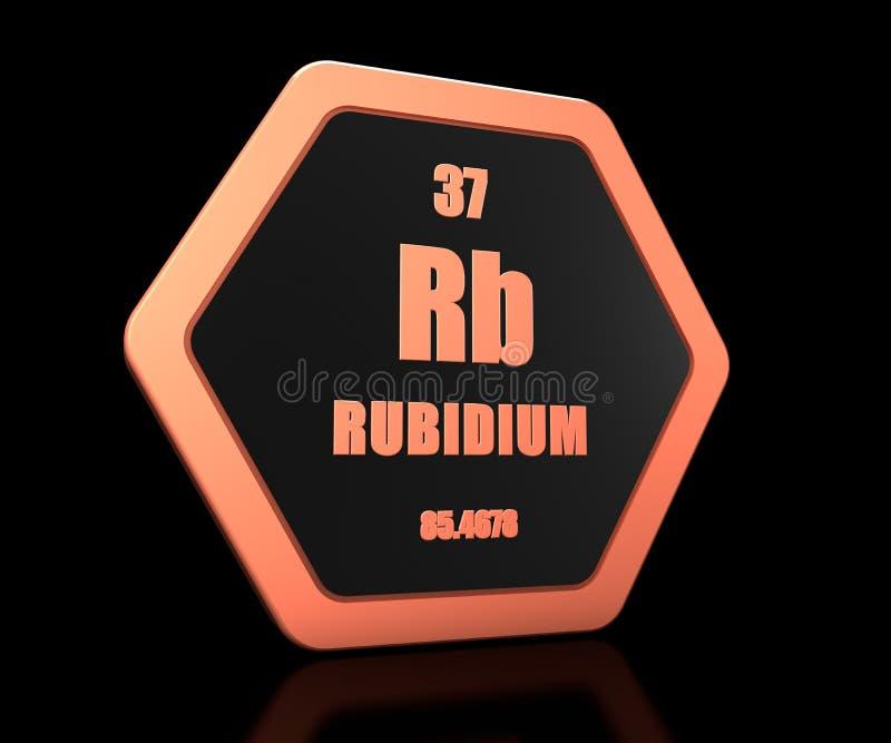 Periodieke 3d de lijstsymbool van het rubidium geeft het chemische element terug royalty-vrije illustratie