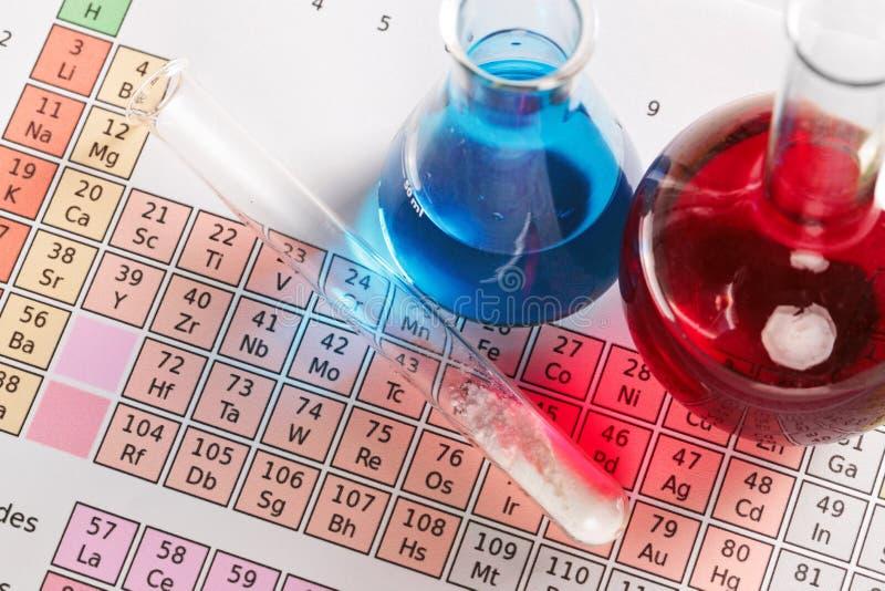 Periodische Tabelle und Chemikalien stockbild