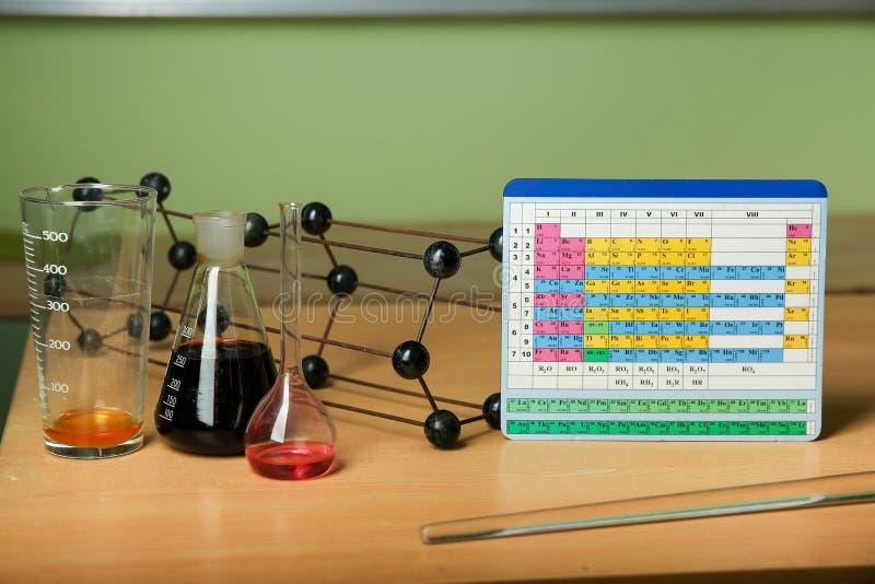 Periodisk tabell av kemiska beståndsdelar nära kemiska flaskor arkivfoto