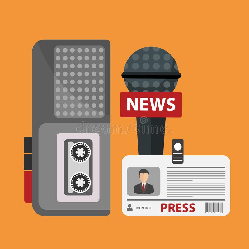Periodismo, televisión, radio, concepto de la rueda de prensa Ejemplo plano del vector ilustración del vector