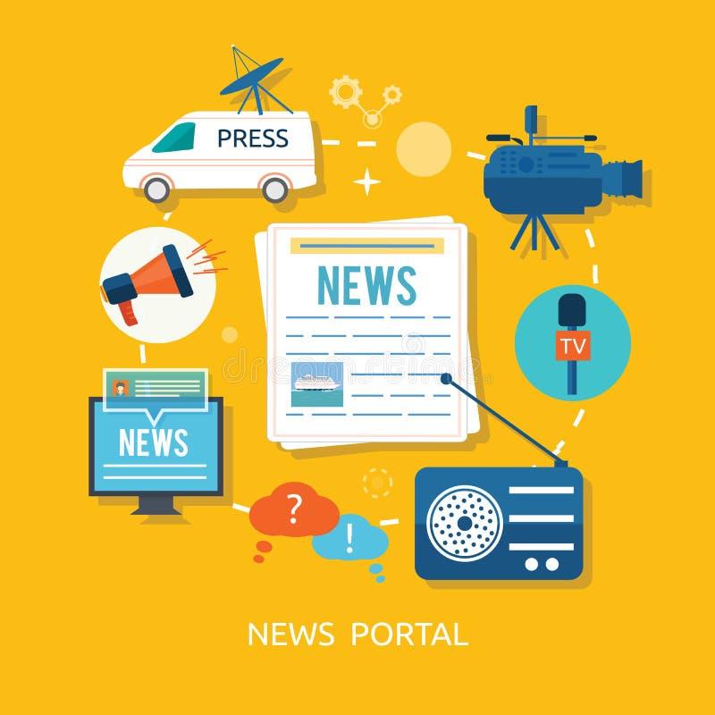 Periodista de las noticias con el micrófono que se entrevista con adentro libre illustration