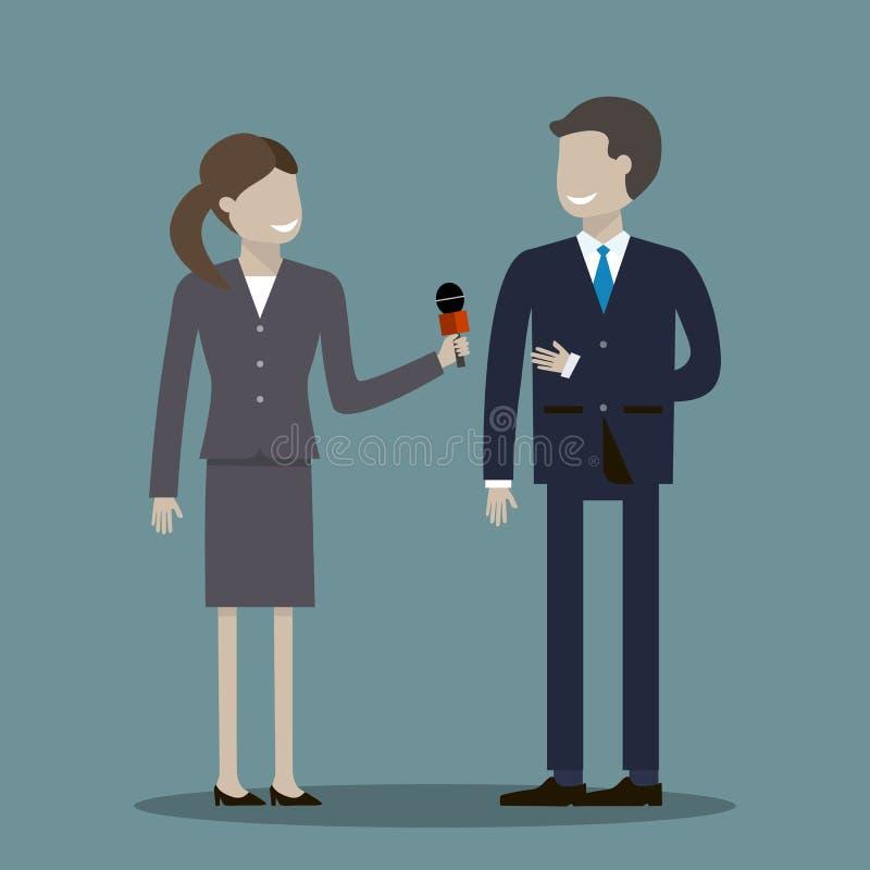 Periodista de sexo femenino Interviewing Businessman libre illustration