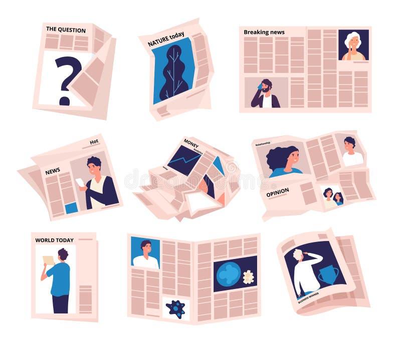 Periodtidningar Den moderna tabloidtidningnyheternapublikationen, tidningspacke rufsade till pappers- ark Tidskrift för affärspre stock illustrationer
