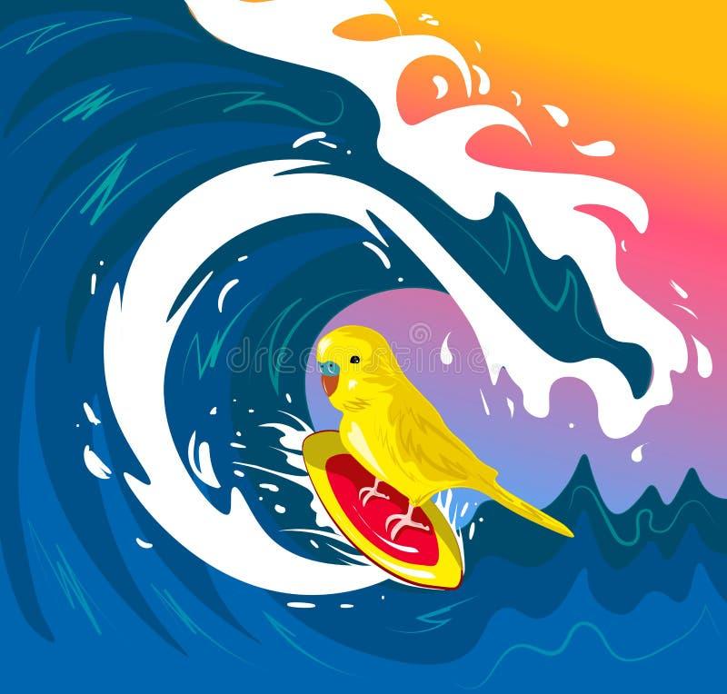 Periquito australiano que aflui na onda Aperfeiçoe para a decoração tal como cartazes, arte da parede, sacola, cópia do t-shirt,  ilustração royalty free