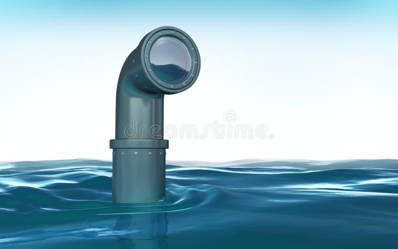 Periscópio acima da água ilustração stock