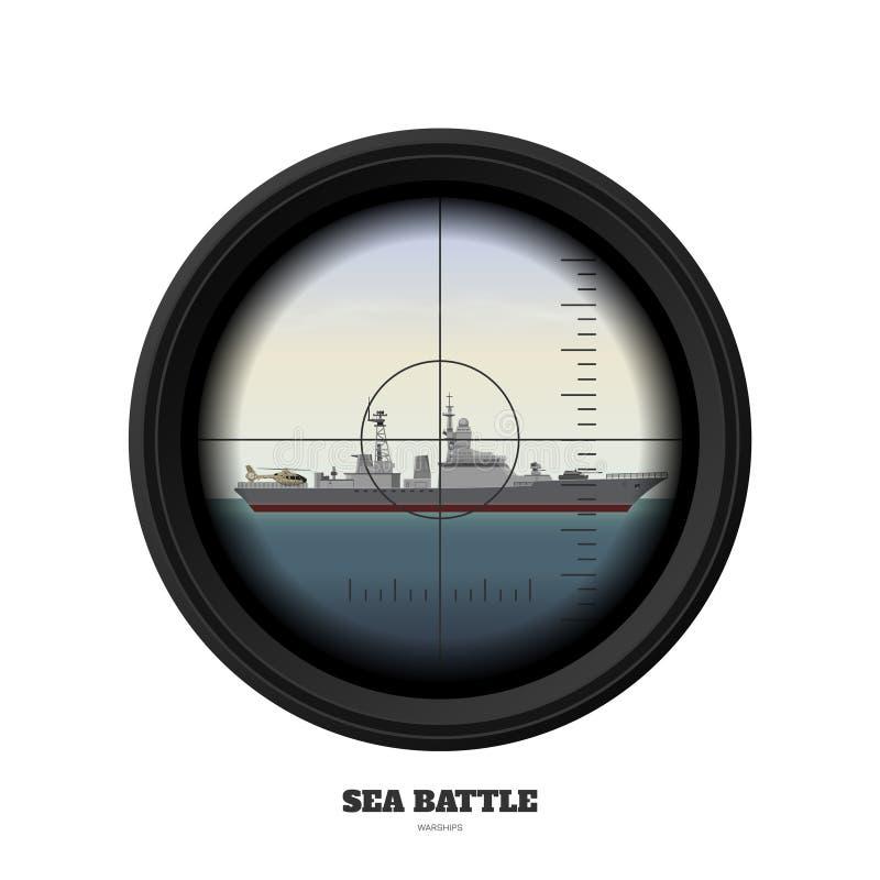 Periscópio do submarino Opinião militar da arma Batalha de mar Imagem do navio de guerra Navio de guerra no oceano ilustração do vetor