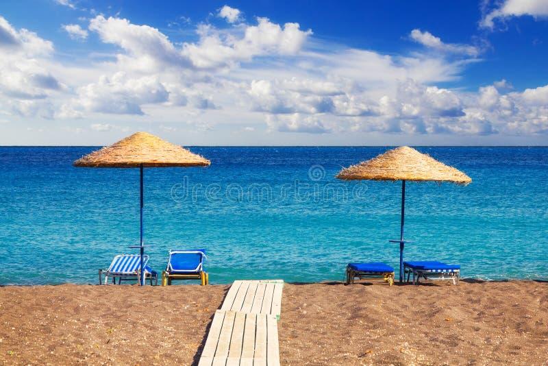 Perissa beach (Black Beach), Santorini stock photography