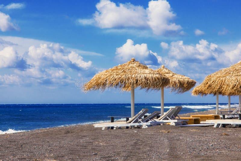 Perissa beach (Black Beach), Santorini stock photo