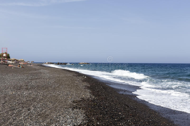 Perissa beach (Black Beach) on Santorini island, Greece stock photo