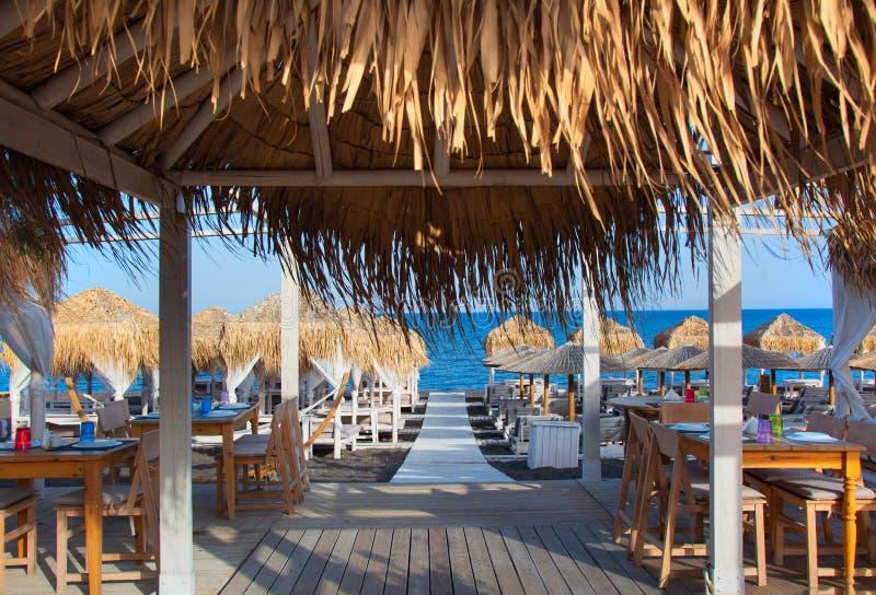 Perissa beach Black Beach on Santorini island, Greece stock photo