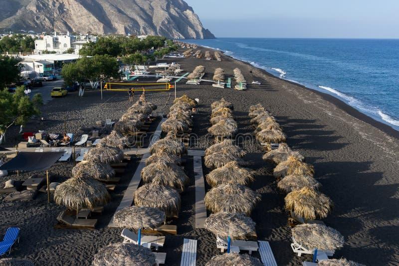 Perissa beach in Santorini stock image
