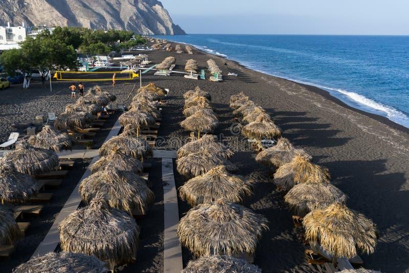 Perissa beach in Santorini royalty free stock photography