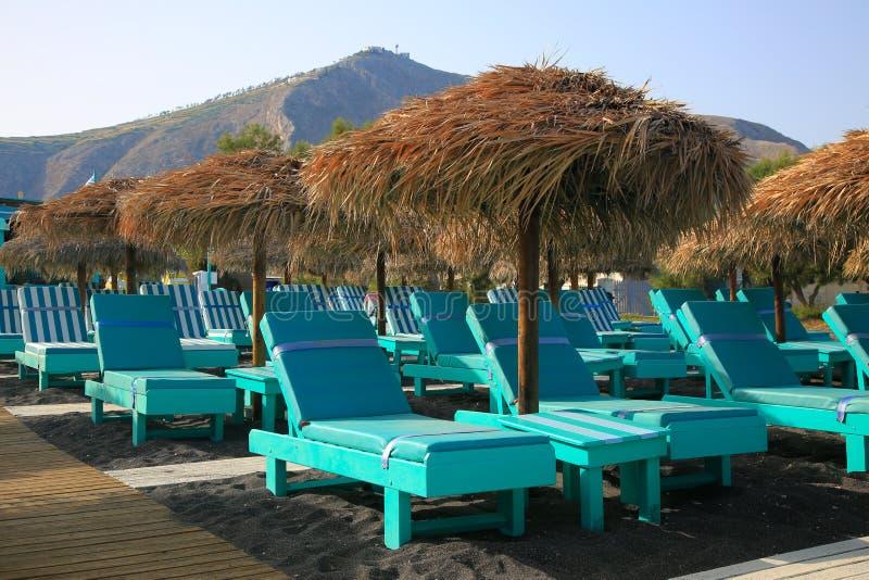 Perissa-Strand Schwarz-Strand auf Santorini-Insel, Griechenland stockbilder