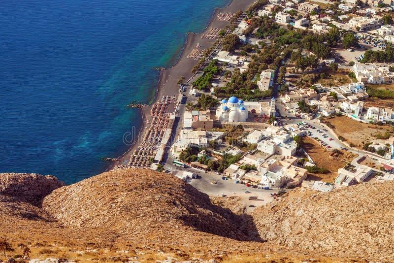 Perissa village, Santorini, as seen from the Ancient Thera ruins stock photo