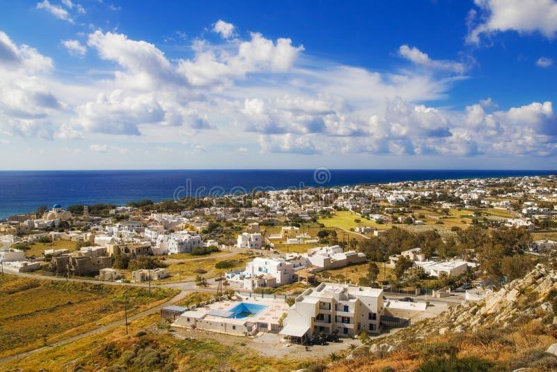 Perissa village, Santorini stock photo