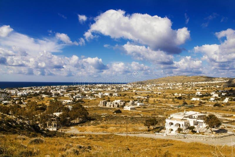 Perissa village, Santorini stock photography
