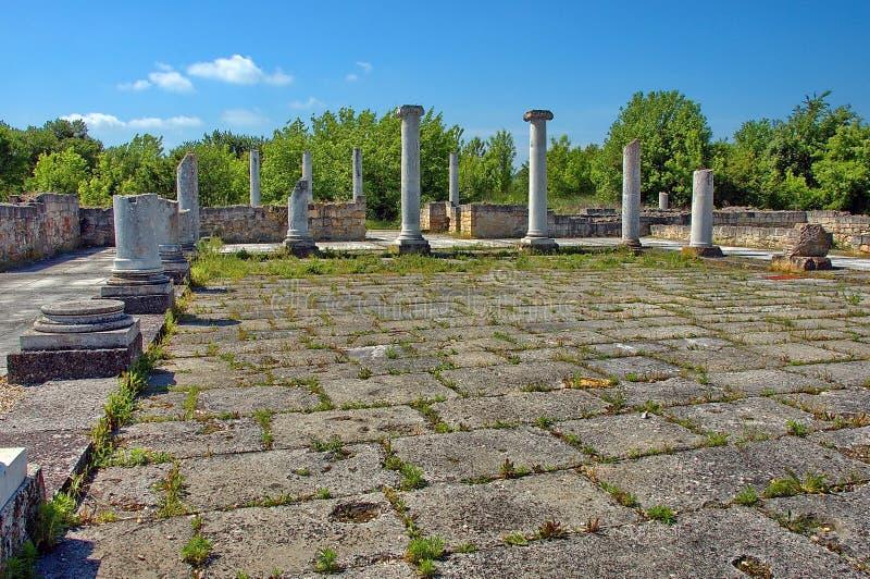 Peristyl komplex Abritus在当前城镇Razgrad 免版税库存照片