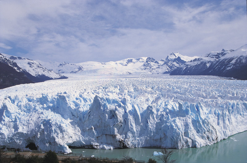 Perito Moreno. The Perito Moreno is the most outstanding glacial, having a front of 5 km long and a height of over 60 meters above the level of the water royalty free stock photography