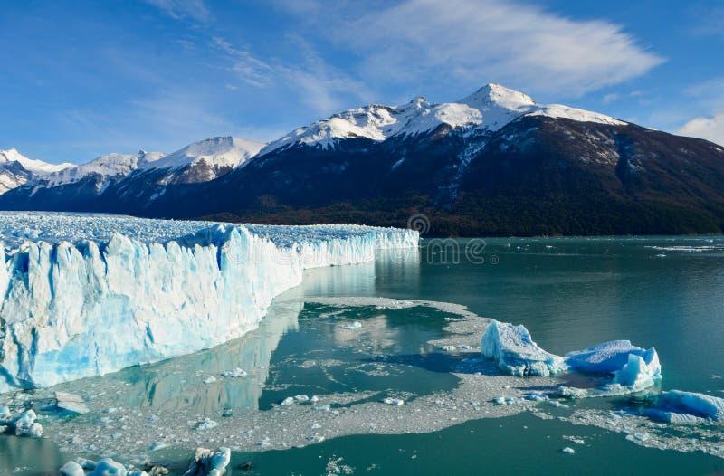 Perito moreno glacier calafate winter season vacations outdoors nature awe beauty landscape frozen lake snowy mountains. Patagonia, argentina, beautiful stock images