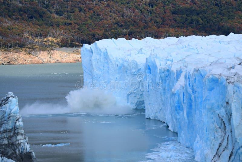 Perito Moreno Glacier calving in to Lake Argentino, Los Glaciares National Park, Santa Cruz Province, Patagonia, Argentina stock photos