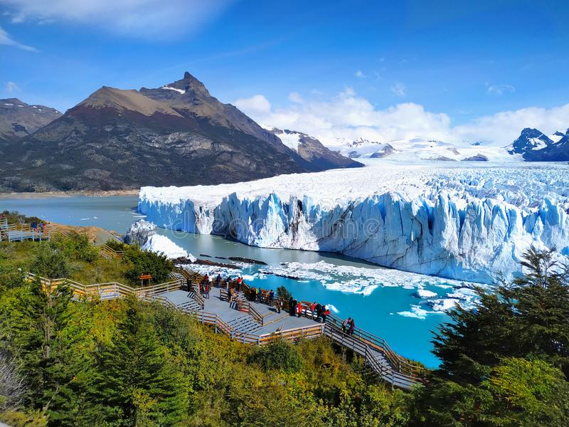 Perito Moreno Glacier, Lago Argentino, Patagonia, Argentina. Famous Perito Moreno Glacier and Lago Argentino  in Los Glaciares National Park, Patagonia royalty free stock images