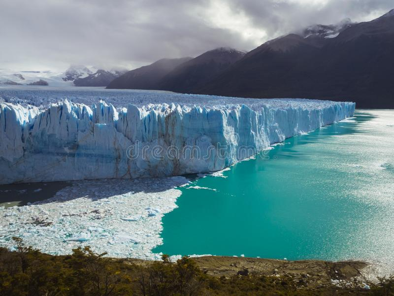 The Perito Moreno Glacier panoramic view. It is is a glacier located in the Los Glaciares National Park in Patagonia, Argentina. Calafate royalty free stock photo