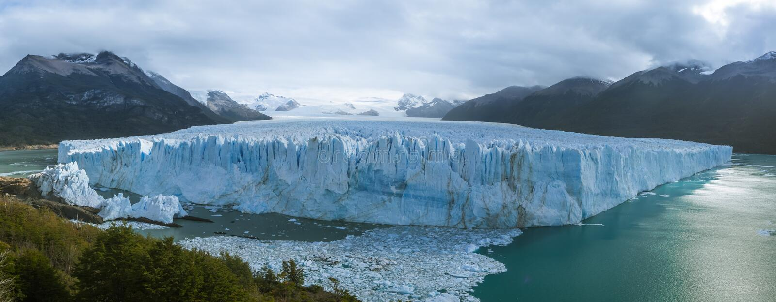 The Perito Moreno Glacier panoramic view. It is is a glacier located in the Los Glaciares National Park in Patagonia, Argentina. Calafate royalty free stock image