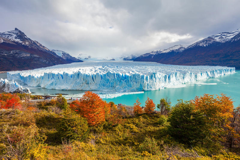 The Perito Moreno Glacier. Panoramic view. It is is a glacier located in the Los Glaciares National Park in Patagonia, Argentina royalty free stock photography