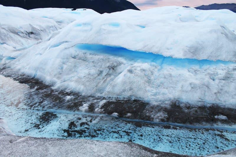 Perito Moreno Glaciers olika texturer och färger, Patagonia Argentina arkivfoton