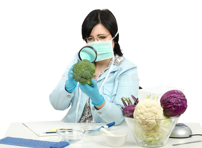 Perito que inspeciona com cuidado uns brócolis no laboratório fotos de stock royalty free