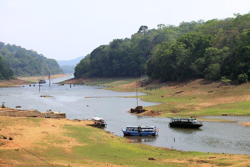 periyar印度喀拉拉的湖 免版税库存照片