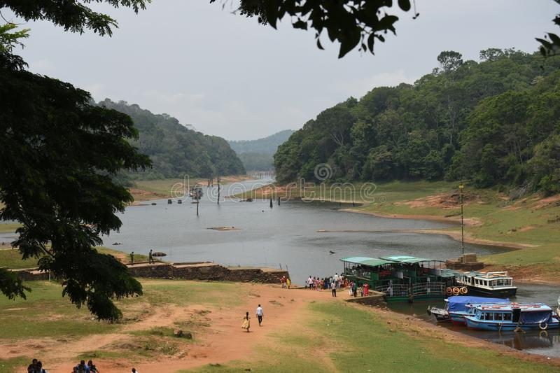 Periyar湖和国家公园, Thekkady,喀拉拉 免版税库存图片