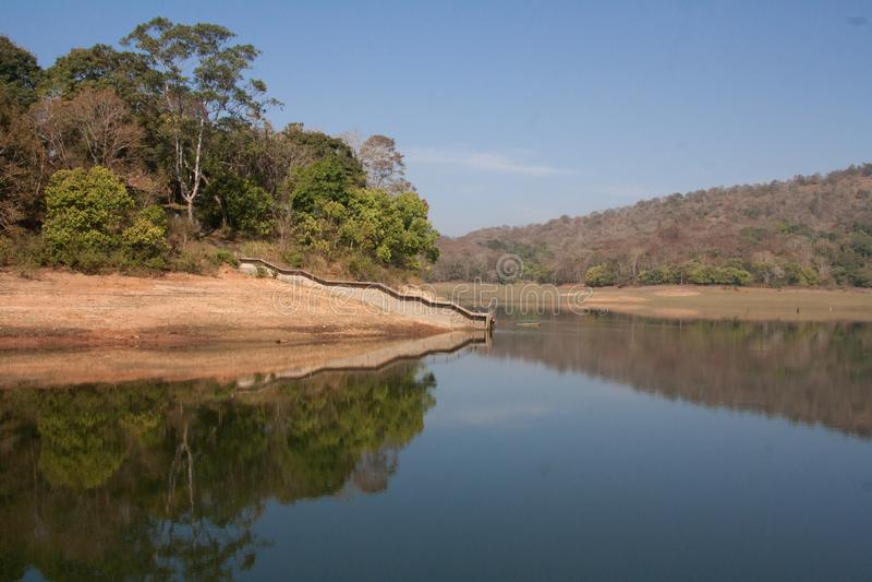 Periyar reservskog, Thekkady Kerala arkivbilder