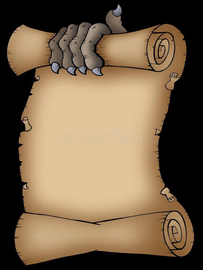 Perkament met enge klauw vector illustratie