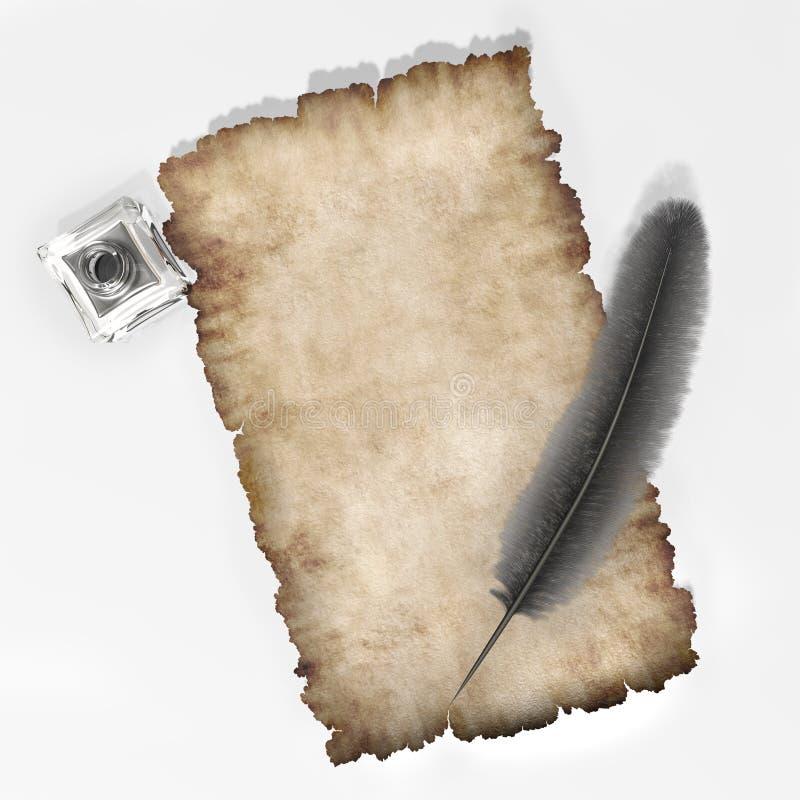 Perkament met schacht adn inkpot document textuur 3D illustratie als achtergrond stock illustratie
