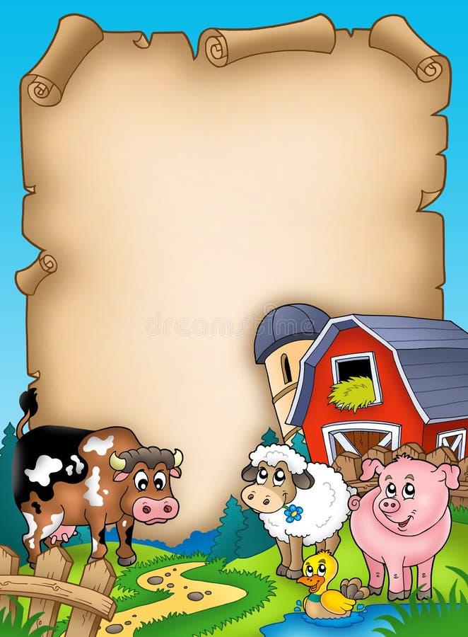 Perkament met schuur en dieren stock illustratie