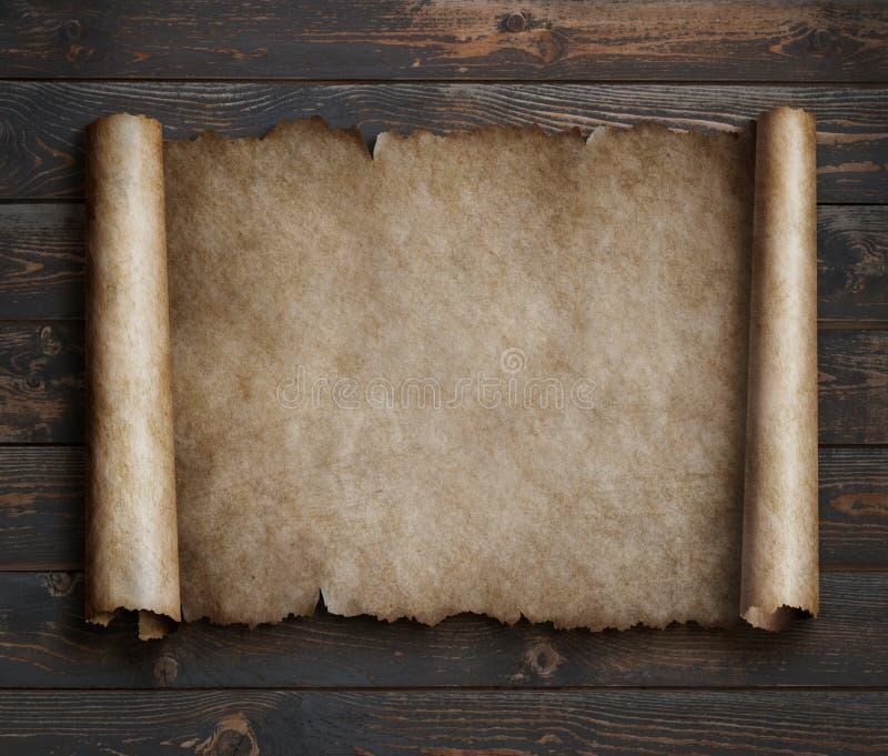Perkament op houten lijst 3d illustratie stock afbeeldingen