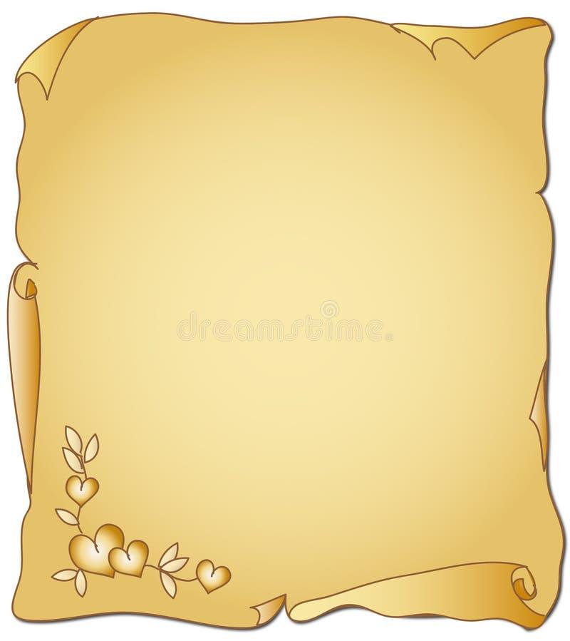 Perkament voor de Dag van de Valentijnskaart vector illustratie