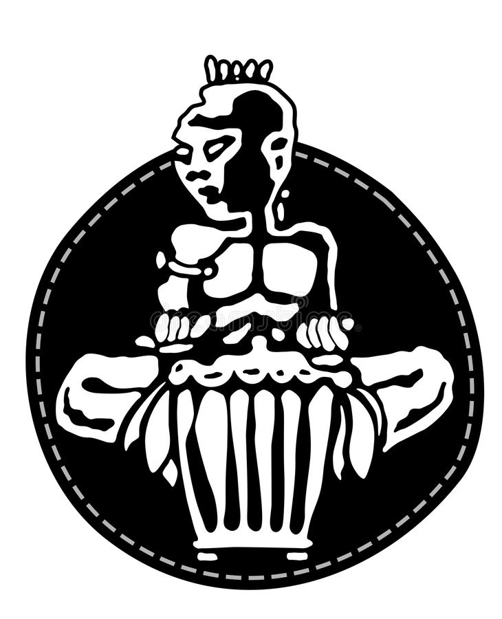 perkusista afrykańskiej Perkusja gracze Plemienna bongo lub djembe muzyka Majcheru logo ilustracja wektor
