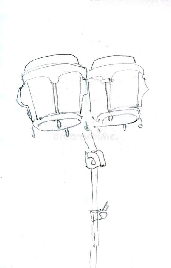 Perkusja instrumentu nakreślenia ikona ręka patroszona royalty ilustracja