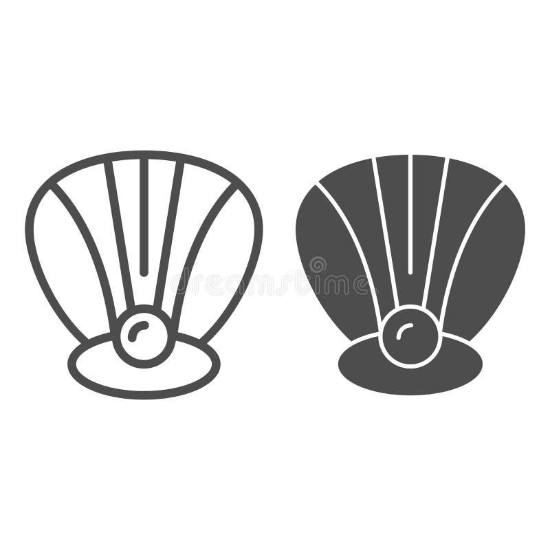Perl in einer Oberteillinie und in einer Glyphikone Muschelvektorillustration lokalisiert auf Weiß Muschelentwurfs-Artentwurf, en lizenzfreie abbildung