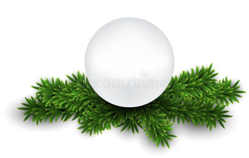 Perla bianca sui rami di notte di Natale. royalty illustrazione gratis