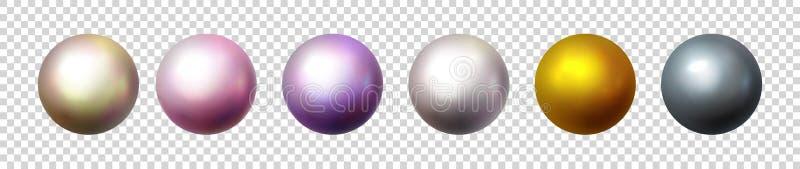 Perla brillante aislada en fondo transparente Orbes multicolores, bolas esféricas y botones de cristal del círculo 3D brillante stock de ilustración
