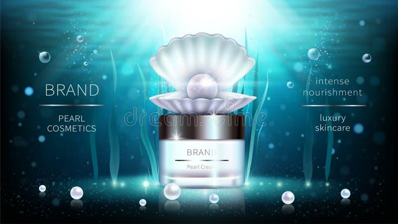 Perla e manifesto realistico degli annunci dei cosmetici delle alghe illustrazione di stock