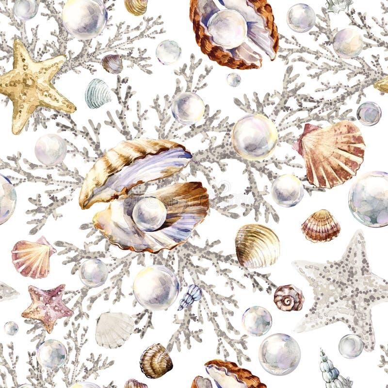 Perla e modello senza cuciture di corallo Fondo del marinaio dell'acquerello illustrazione vettoriale