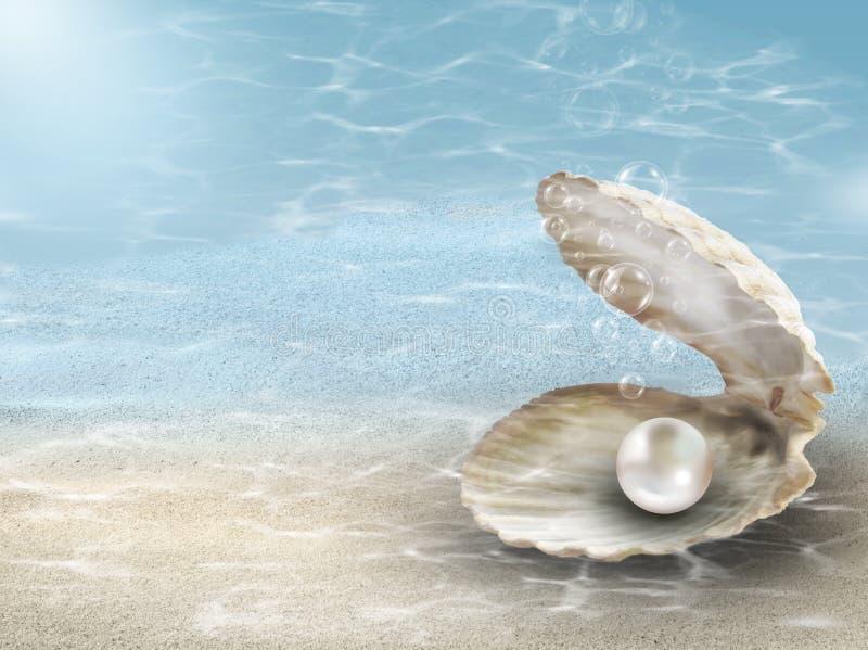 Perla nel fondo subacqueo della conchiglia di ostrica fotografia stock libera da diritti